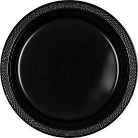 "Jet Black Plastic Plates, 9"", 20ct"