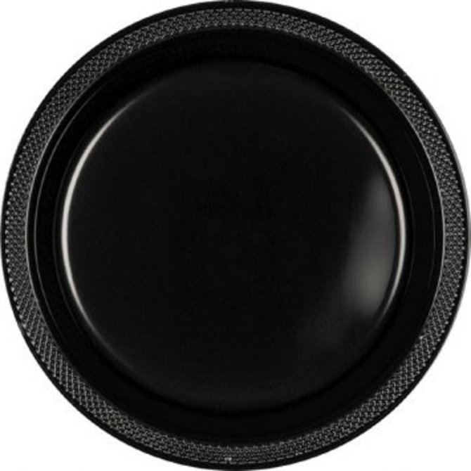 "Jet Black Plastic Plates, 9"" 20ct"