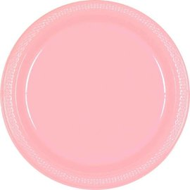 "New Pink Plastic Plates, 9"" 20 Ct"