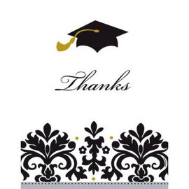 Black & White Grad Postcard Thank You Cards 50ct.