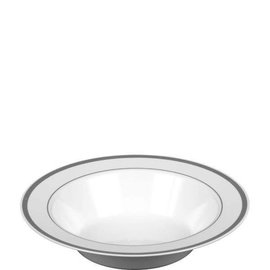 White Premium Plastic Bowls with Silver Trim, 12 oz. 10ct.
