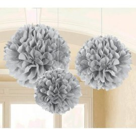 Fluffy Tissue Decorations - Silver 3 ct