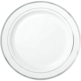 "White Premium Plastic Round Plates with Silver Trim, 10 1/4""-10ct"