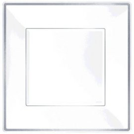 "Square Plastic Plate White w/Silver Trim, 10""-8ct"