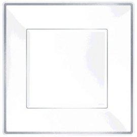"""Square Plastic Plate White w/Silver Trim, 10""""-8ct"""