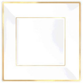 "Square Plastic Plate White w/Gold Trim, 10"" -8ct"