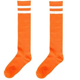 Orange Striped Knee Socks