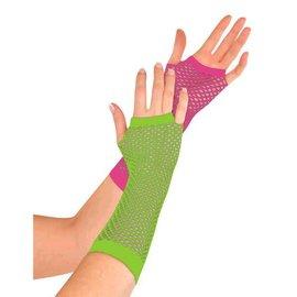 Neon Fishnet Long Gloves