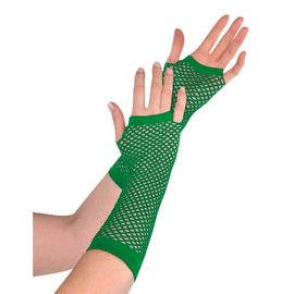 Green Fishnet Long Gloves