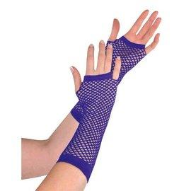 Purple Fishnet Long Gloves