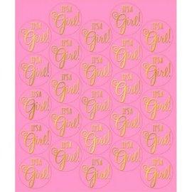 Baby Shower Sticker Seals - Pink 25ct