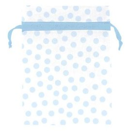 Blue Dot Organza Baby Shower Favor Bags 12ct