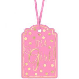 Baby Shower Foil Stamp Tags - Pink 25ct