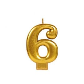 Numeral #6 Metallic Candle - Gold