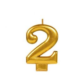 Numeral #2 Metallic Candle - Gold