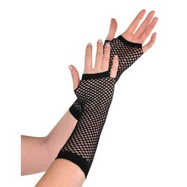 Black Fishnet Long Gloves