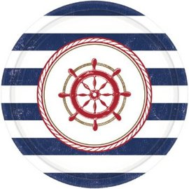 """Anchors Aweigh Round Plates, 7"""" 8CT"""