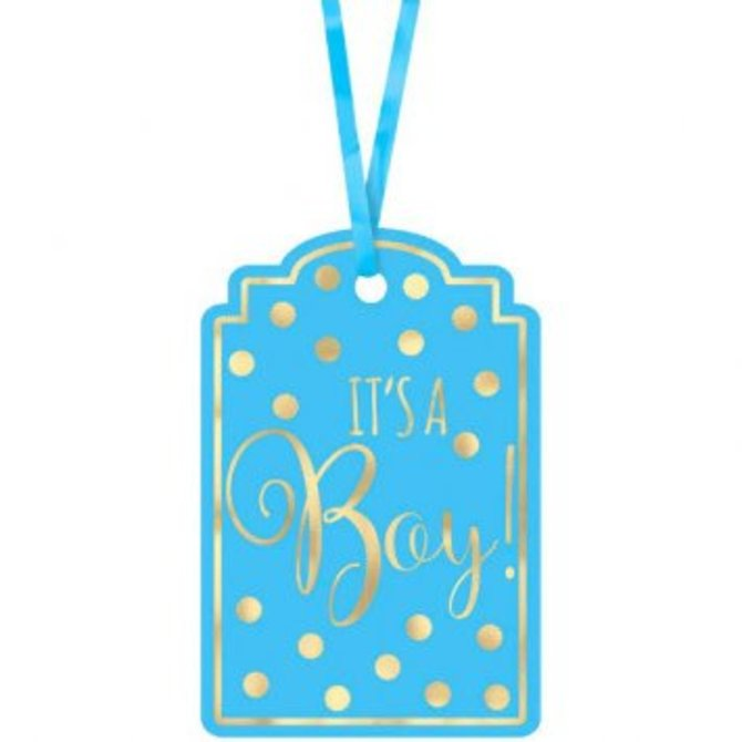 Baby Shower Foil Stamp Tags - Blue 25ct
