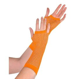 Orange Fishnet Long Gloves