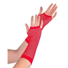 Gloves Fishnet Long Red