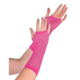 Pink Fishnet Long Gloves