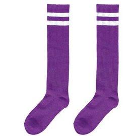 Purple Striped Knee Socks