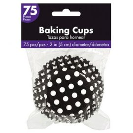 Cupcake Cases - Black Dot 75ct.