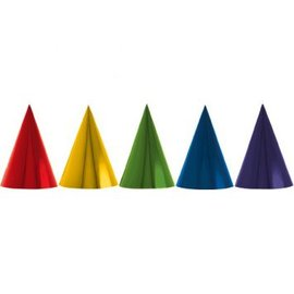 Rainbow Foil Cone Party Hats