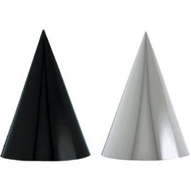 Black & White Foil Cone Party Hats 12ct