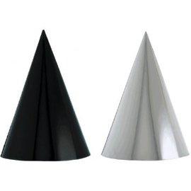 Black & White Foil Cone Party Hats 12ct