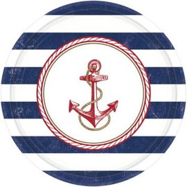 """Anchors Aweigh Round Plates, 10 1/2"""" 8ct."""