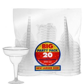 Clear Plastic Margarita Glasses - Big Party Pack