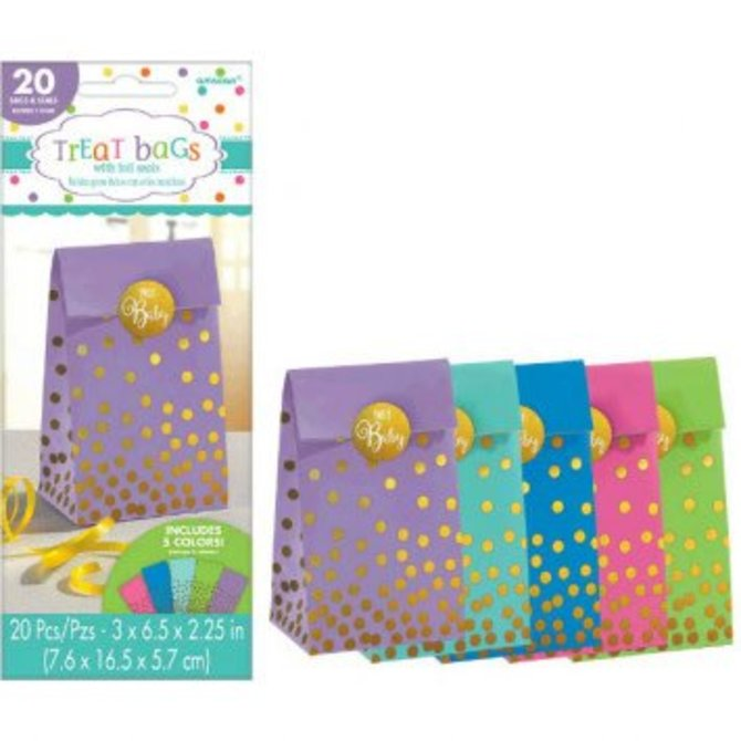 Baby Shower Foil Stamped Bags w/Stickers - Neutral 20ct