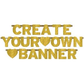 Customizable Banner - Gold Glitter