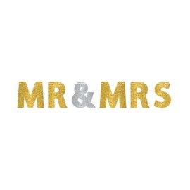 Mr. & Mrs. Glitter Letter Banner