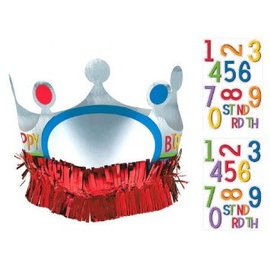 Rainbow Birthday Add-Any-Age Crown w/Fringe