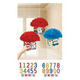 Rainbow Birthday Add-Any-Age Fluffy Decorations 3ct