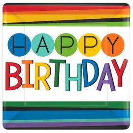 "Rainbow Birthday Square Plates, 10"", 8ct"