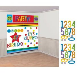 Rainbow Birthday Add-Any-Age Wall Decorating Kit