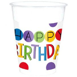 Rainbow Birthday Plastic Cups, 16 oz 25ct