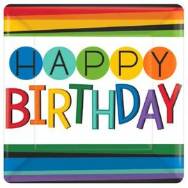 "Rainbow Birthday Square Plates, 7""-8ct"