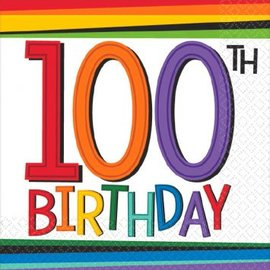 Rainbow Birthday Beverage Napkins 100, 16ct