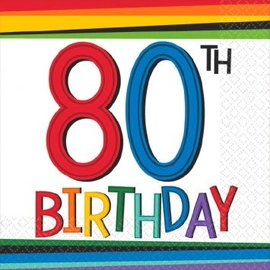 Rainbow Birthday Beverage Napkins 80 16ct.