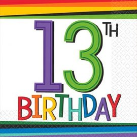 Rainbow Birthday Beverage Napkins 13 (16 count)