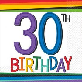 Rainbow Birthday Beverage Napkins 30, 16ct