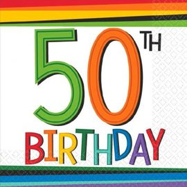 Rainbow Birthday Beverage Napkins 50 16ct.