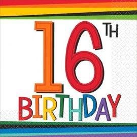Rainbow Birthday Beverage Napkins 16 (16 count)