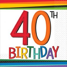 Rainbow Birthday Beverage Napkins 40 16 count