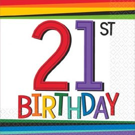 Rainbow Birthday Beverage Napkins 21 16 count