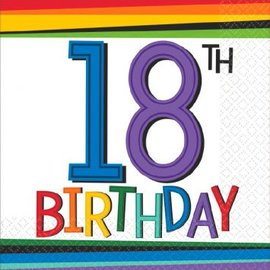 Rainbow Birthday Beverage Napkins 18, 16ct